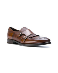 Double monks en cuir marron Henderson Baracco