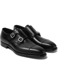 Double monks en cuir noirs George Cleverley