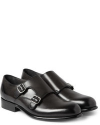 Double monks en cuir noirs Lanvin