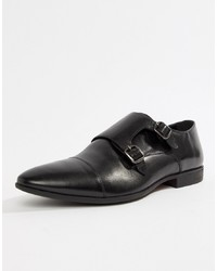 Double monks en cuir noirs Pier One