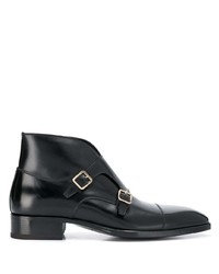 Double monks en cuir noirs Tom Ford