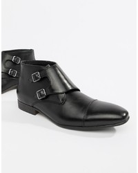 Double monks en cuir noirs Truffle Collection