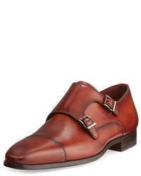 Double monks en cuir rouges