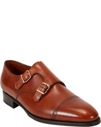 Double monks en cuir tabac