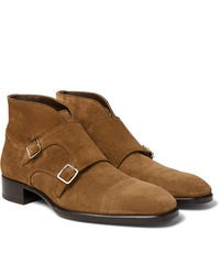 Double monks en daim marron clair Tom Ford