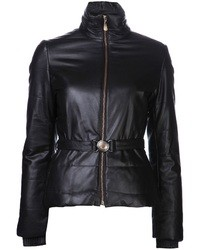 Doudoune en cuir noire Versace
