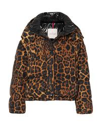 Doudoune imprimée léopard marron Moncler