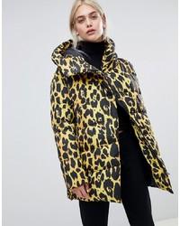Doudoune longue imprimée léopard multicolore ASOS DESIGN