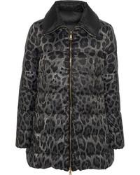 Doudoune longue imprimée léopard noire Moncler