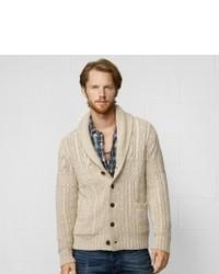 Duffel-cardigan en tricot beige