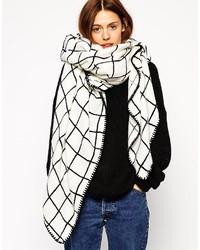 Acheter écharpe à carreaux blanche et noire femmes  choisir écharpes ... da8a5ec12f3