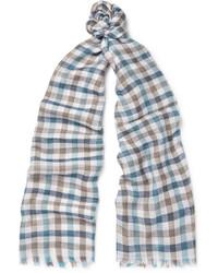 Écharpe à carreaux bleue claire Loro Piana