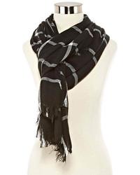 Écharpe à carreaux noire et blanche