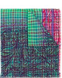 Écharpe à carreaux verte Etro