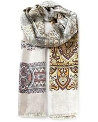 Écharpe à fleurs beige Pierre Louis Mascia