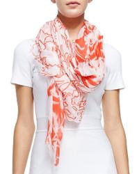 Écharpe à fleurs blanc et rouge