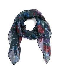 Écharpe à fleurs bleu marine