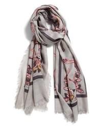 Écharpe à fleurs grise