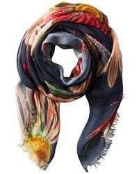 Écharpe à fleurs multicolore