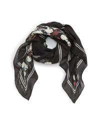 Écharpe à fleurs noire
