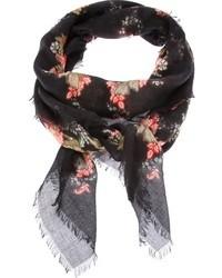 Écharpe à fleurs noire Alexander McQueen