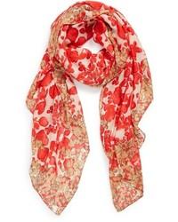 Écharpe à fleurs rouge