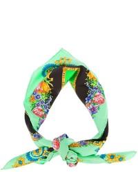 Écharpe à fleurs verte