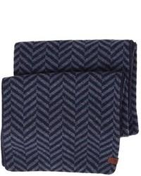 Écharpe à motif zigzag bleu marine