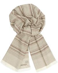 Écharpe à rayures horizontales beige