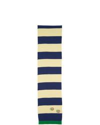Écharpe à rayures horizontales blanc et bleu marine Gucci