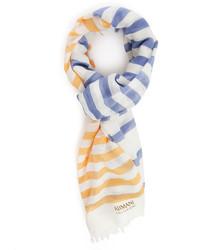 Écharpe à rayures horizontales bleu clair