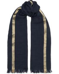 Écharpe à rayures horizontales bleu marine Johnstons of Elgin