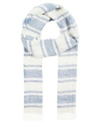 Écharpe à rayures horizontales bleue claire Max Mara