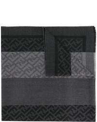 Écharpe à rayures horizontales gris foncé Fendi