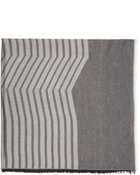 Écharpe à rayures horizontales grise Thamanyah
