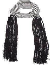 Écharpe à rayures verticales blanche et noire Ann Demeulemeester
