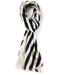 Écharpe à rayures verticales blanche et noire Joseph