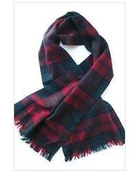 Écharpe écossaise blanc et rouge et bleu marine