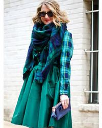 Écharpe écossaise bleu marine et vert