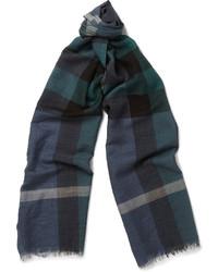 Écharpe écossaise bleu marine et vert Burberry