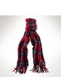 Écharpe écossaise rouge et bleu marine