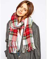 Écharpe en coton écossaise rouge