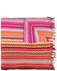 Écharpe en coton en tricot rouge Missoni