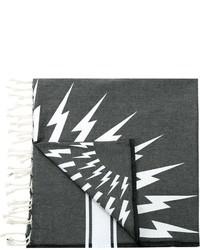 Écharpe en coton imprimée gris foncé Neil Barrett