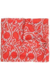 Écharpe en coton imprimée rouge Closed