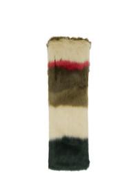 Écharpe en fourrure à rayures horizontales olive Gucci