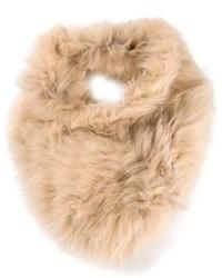 Écharpe en fourrure beige