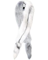 Écharpe en fourrure blanche Oscar de la Renta
