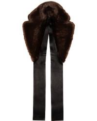 Écharpe en fourrure brune foncée Calvin Klein Collection