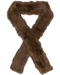 Écharpe en fourrure brune foncée Yves Salomon
